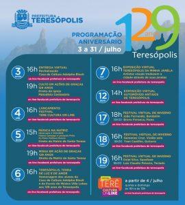 Teresópolis completa 129 anos e terá programação online para marcar o aniversário.